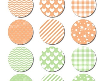 50% OFF Cupcake toppers Peach & Celadon - Instant Download - Flag pennant - Party Printable