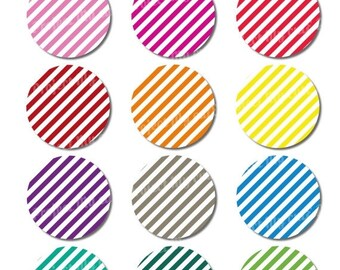 50% OFF CUPCAKE TOPPERS Rainbow Obliques Stripes - Instant Download - Cake bunting - Party decoration