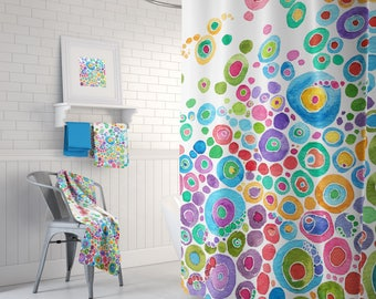 Colorful Shower Curtain - Inner Circle Bubbles Abstract Watercolor happy, colorful shower curtain, blue, teal, pink, green, extra long