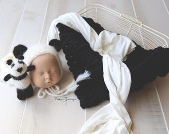 Panda bear, panda bonnet, lovey, photography prop, chunky blanket, black bump blanket, panda lovey, bear bonnet, bear set, newborn prop