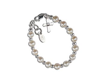 Sterling Silver Freshwater Pearl Baptism Bracelet for Girls with Cross Charm or First Communion Gift (Kaitlyn)