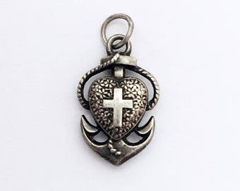 Antique Faith Hope and Charity Silver Charm Heart Pendant French Religious Anchor Lucky Charm Medal Necklace