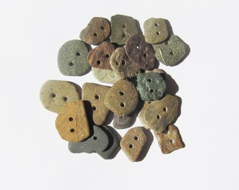 Natural Stone buttons rock buttons set of 22 organic buttons knitting sewing buttons scrapbooking craft buttons ooak unique buttons (SBT-35)