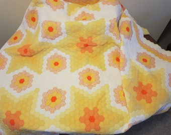 "Vintage 1960s 1970s patchwork quilt orange yellow white floral print fabric hand sewn Grandmother's Flower Garden 85"" by 81"" (62417)"