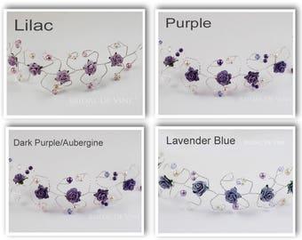 Dark Purple Aubergine Lilac Lavender  Hair Vine  Bridesmaids Hair Accessory Hair Up Bun Wrap