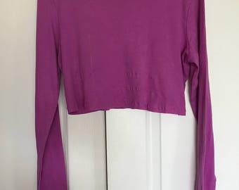long sleeve pink crop tee