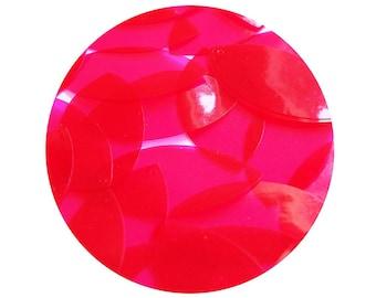 Navette Leaf Vinyl Shape Top Hole 1.5 inch Raspberry Pink Go Go Transparent