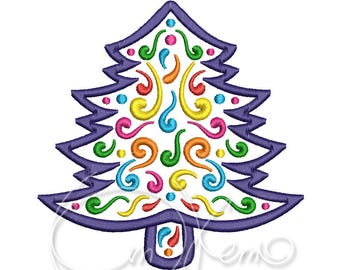 MACHINE EMBROIDERY DESIGN - Mexican design Christmas tree