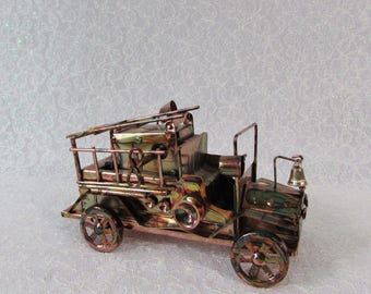 Copper Art Fire Truck Music Box, Ladder goes up and down as it plays Hot Time in the Old Town, Metal Art