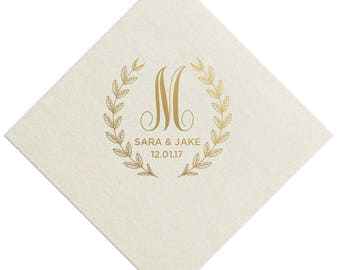 100 Personalized Wedding Napkins Custom Monogram Rustic Flowers Laurel Wreath Borderless Uncoined Napkins now available in White or Ivory