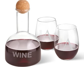 Personalized Wine Decanter in Wood Crate with set of 2 Stemless Wine Glasses - 9 Personalization Styles to choose from! Fast shipping!