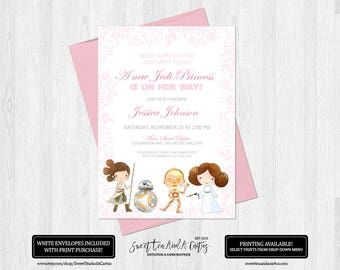 Star Wars Baby Shower Invitation Jedi Princess Girls Sci-fi Invites Leia and Rey Digital File or Prints with Free Shipping Pink Floral