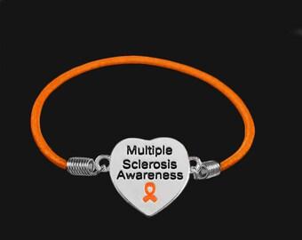 10 Multiple Sclerosis Awareness Heart Stretch Bracelets (10 Bracelets) (B-55H-5MS)