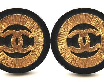 Chanel #15272 Rare Oversize CC Black gold clip on earrings