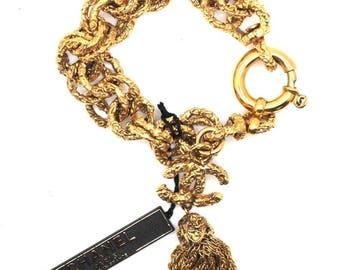 Chanel #16135 Ultra Rare Textured Cc Tassel Links Cuff Bracelet