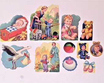 1950's Vintage Decals Mothers and Babies Set of 11 Pieces