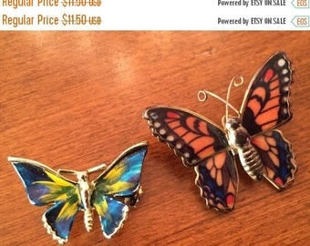 Sale Brooches Butterfly Pair Enameled Glazed Contrasting Colors