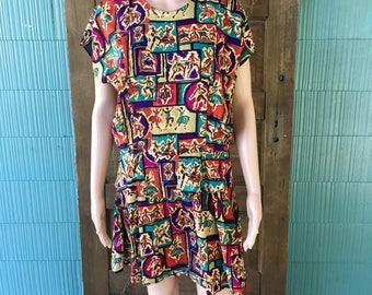 Vintage 80's Person Print Peplum Dress by Nina Piccalino Size Medium