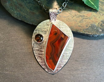 Red Agate, Citrine and Sterling Silver Pendant