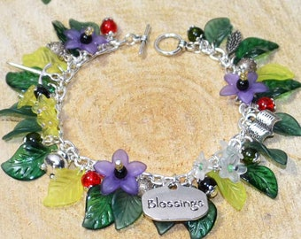The Hedgewitch Bracelet - Pagan Jewellery Inspired by the Wise Woman, and Cunning Man, and their Flowers, Herbs, Plants, Tools