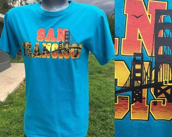 Small 1990s San Francisco T-shirt Turquoise Blue Golden Gate Bridge Mens Unisex SF San Fran Tourist 1980s Graphic