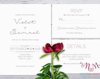 Elegant Wedding Invitation Suite, Wedding invitation printable, Wedding invitation set, invitation set, printable wedding suite