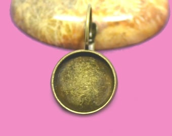 14mm cabochon 14mm bronze Stud Earrings