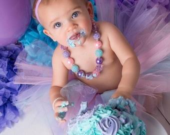 Purple Pink Aqua Baby Necklace, Girls Bubblegum Necklace, Purple Pink Toddler Necklace, Girls Cake Smash Accessories,  Chunky Bead Necklaces