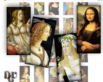 40% DOMINOES PORTRAITS - Italian Reinassence Works of Art 1 x 2 Digital Collage Sheets Art  women Pendant Jewelry Rectangle Necklace R_017