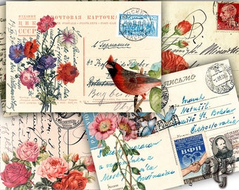 VINTAGE POSTCARDS Digital Collage Sheet Shabby Floral Postcards - Greeting Cards - Jewelry Holders - Printable Collage - Paper Craft  C_002