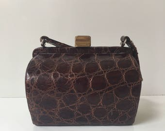 Gorgeous Brown Leather Faux Alligator Handbag Purse Exact Match by Revits