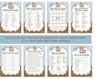 Blue Teddy Bear Baby Game, Printable Teddy Bear Baby Shower Game, Teddy Bear Shower Game, Bear Game, Blue Bear Game - Printables 4 Less