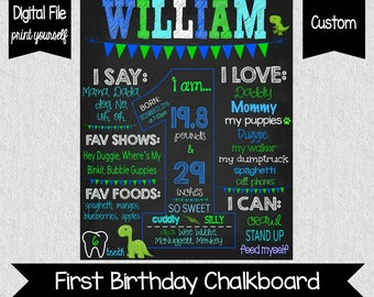 Dinosaur First Birthday Sign - Chalkboard Sign - Digital - Dinosaur Birthday Sign - First Birthday Chalkboard - Boy - Blue and Green 1st