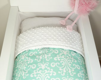 Bassinet quilt OR Bassinet and fitted sheet set - Bright mint with white damask AND mint minky