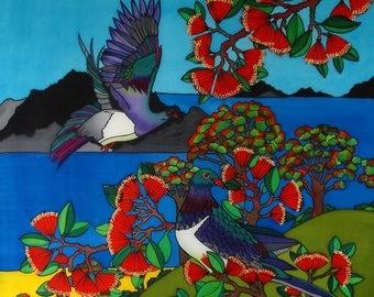 """Outdoor garden art on aluminium by New Zealand artist Jo May- """"New Zealand Kereru"""" #2011 XL 100cm x 100cm"""