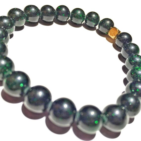 Green Sandstone Beaded Bracelet 8mm, Choose Your Charm, Custom, Gold plated, yoga, meditation, womens, bridesmaid, wedding, energy, crystal,