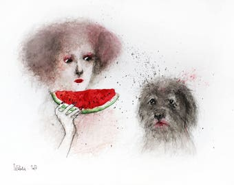 Dog watercolor painting. Dog illustration, dog wall art, dog home decor. Watermelon watercolor painting. Female portrait. FREE SHIPPING!