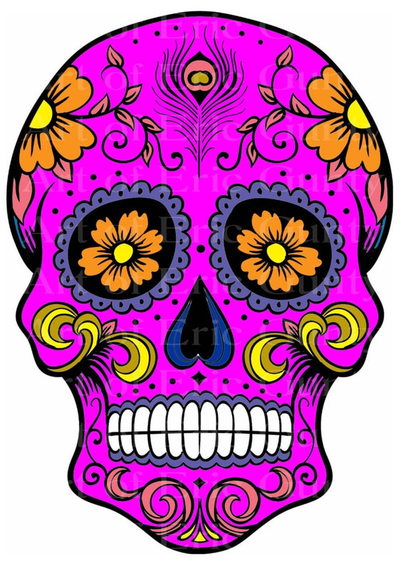 Pink Sugar Skull Halloween Birthday - Edible Cake and Cupcake Topper For Birthday's and Parties! - D22644