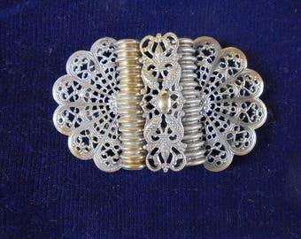 Antique Edwardian Ornate Filigree Belt Buckle