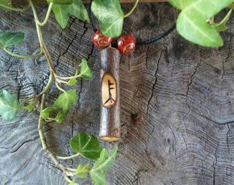 Rowan Ogham Pendant, Rowan Necklace, Ogham Stave, Rowan Amulet, Rowan Amulet Necklace, Birth Tree Pendant, Adjustable Necklace