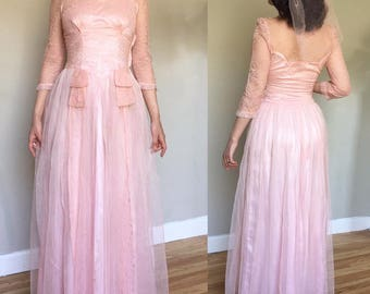 1930s Pink Lace Netting Tulle Gown & Veil