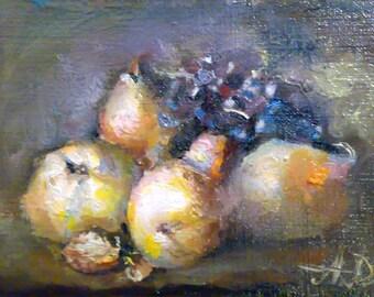 Original aceo,oil painting,fruits summer landscape, kitchen art, miniature. es