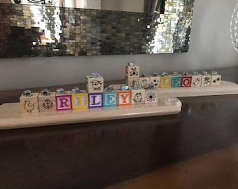 Children's Personalized Wooden Alphabet Blocks Menorah!