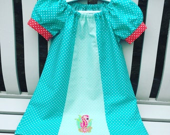 ARIEL LITTLE MERMAID Disney peasant dress in cotton fabric with puffed cuff sleeves age 12 mths to 5/6
