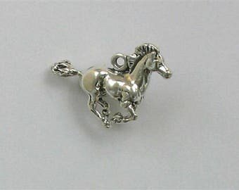 Sterling Silver 3-D Mustang Horse Charm