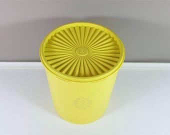 Large lemon yellow vintage Tupperware Servalier Canister with Lid - Retro Tupperware - Yellow Servalier Tupperware