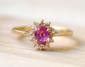 0.56 Carat Natural Ruby Ring - Miss USA Collection Ring - Ruby Engagement Ring - Ruby Halo Ring - Size 6 Ruby Ring - Vintage Engagement Ring