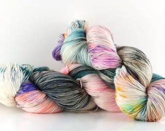 "Hand dyed yarn,  80 / 10 / 10%  super wash merino cashmere nylon, fingering weight, 400 yards, 'Whisper"""