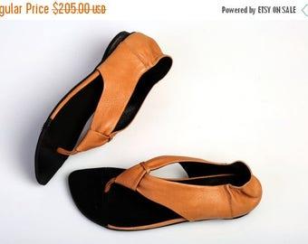 CIJ SALE Leather Sandals, Camel Sandals, Summer Flats, Handmade Sandals, Barefoot Sandals, Orange Sandals, T-strap Sandals, Brigitte