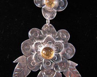 Golden Citrine and .999 Silver Flower Pendant